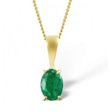 18K Gold 7mm x 5mm Emerald Pendant, DCP02-E